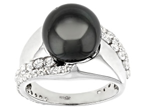 Cultured Tahitian Pearl With 1.05ctw White Topaz Rhodium Over Sterling Silver Ring