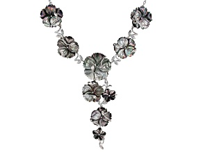 Tahitian Mother-of-Pearl Rhodium Over Sterling Silver 19 Inch Floral Necklace