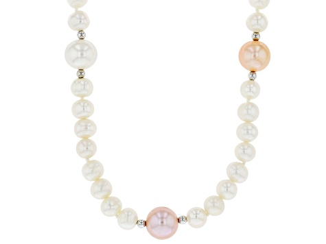 Multi-Color Cultured Freshwater Pearl Rhodium Over Sterling Silver 36 Inch Necklace 6-11mm