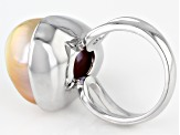 Natural Color Cultured Freshwater Baroque Pearl 20mm Rhodium Over Sterling Silver Ring
