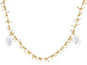 Cultured Freshwater Pearl 18k Yellow Gold Over Sterling Silver 28 Inch Endless Necklace
