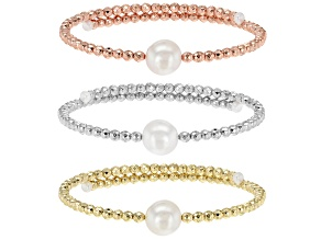 Cultured Freshwater Pearl & Hematine Wrap Bracelet Set of 3