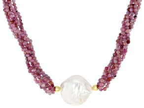 Genusis™ Cultured Freshwater Pearl & Ruby 18k Yellow Gold Over Sterling Silver Necklace