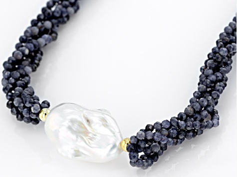 Genusis™ Cultured Freshwater Pearl & Sapphire 18k Yellow Gold Over Sterling Silver Necklace