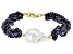 Genusis™ Cultured Freshwater Pearl & Sapphire 18k Yellow Gold Over Sterling Silver Bracelet