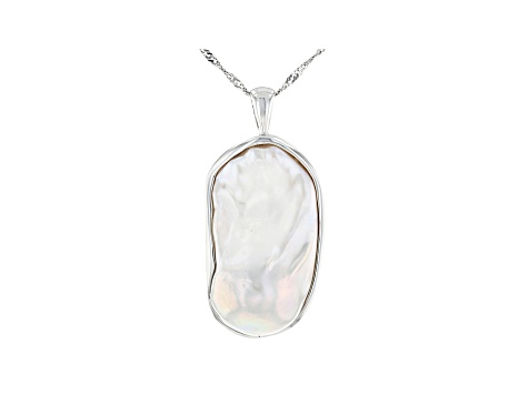 Genusis™ White Cultured Freshwater Pearl Rhodium Over Sterling Silver Pendant