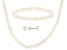 White Cultured Freshwater Pearl 14k Yellow Gold Necklace, Bracelet, And Earrings Children's Set