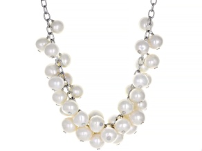 White Oval Cultured Freshwater Pearl 9-10mm Sterling Silver 18 Inch Necklace