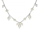 White Cultured Freshwater Pearl Sterling Silver 36 Inch Station Necklace 7-10mm