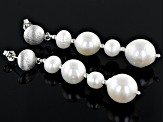 White Cultured Freshwater Pearl Sterling Silver Drop Earrings 7-10mm