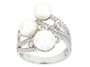 White Cultured Freshwater Button Pearl With Cubic Zirconia Rhodium Over Sterling Silver Ring 0.62ctw