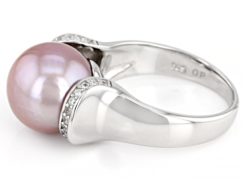 Pink Cultured Freshwater Pearl And Cubic Zirconia 0.18ctw Rhodium Over Sterling Silver Ring 11mm