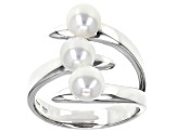 White Cultured Freshwater Button Pearl Rhodium Over Sterling Silver Ring 5mm