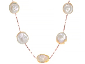 Peach Cultured Freshwater Pearl 18k Rose Gold Over Sterling Silver 20 Inch Necklace 15mm