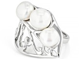 White Cultured Freshwater Pearl 7.5mm Rhodium Over Sterling Silver Ring