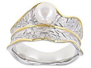 White Cultured Freshwater Pearl 6mm Rhodium & 18k Yellow Gold Over Sterling Silver Ring