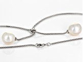 Genusis™  White Cultured Freshwater Pearl & Cubic Zirconia Rhodium Over Sterling Silver Necklace