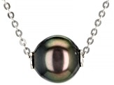 Cultured Tahitian Pearl Rhodium Over Sterling Silver 18 Inch Necklace And Earrings Set 8-9mm