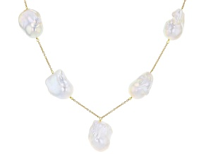 White Cultured Freshwater Baroque Pearl 14k Yellow Gold Over Sterling Silver Necklace 13-17mm