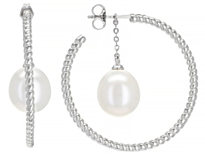 White Oval Cultured Freshwater Pearl Rhodium Over Sterling Silver Hoop Earrings 10-11mm