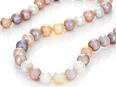 Multi-Color Cultured Freshwater Pearl Rhodium Over Sterling Silver 32 Inch Strand Necklace 10-11mm