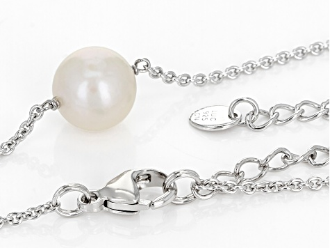 White Cultured Freshwater Pearl 11-12 Sterling Silver 18 Inch Plus 2 Inch Extender Necklace