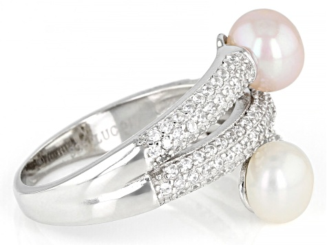 White And Pink Cultured Freshwater Pearl 6-6.5mm With Cubic Zirconia 0.65ctw Sterling Silver Ring