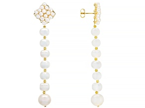 White Cultured Freshwater Pearl 18k Yellow Gold Over Sterling Silver Dangle Earrings 3-9.5mm