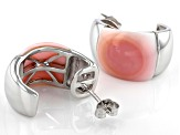 Pink Conch Shell Rhodium Over Sterling Silver Earrings