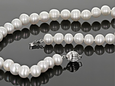 White Cultured Freshwater Oval Pearl Rhodium Over Sterling Silver 18 Inch Strand Necklace 9-10mm
