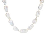 White Baroque Cultured Freshwater Pearl 14-17mm Rhodium Over Sterling Silver 22 Inch Strand Necklace