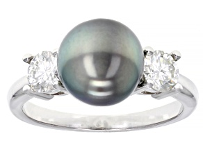 Cultured Tahitian Pearl And Moissanite Fire® 0.58ctw Dew Rhodium Over Sterling Silver Ring 9mm