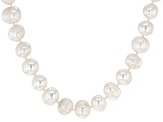 White Cultured Freshwater Pearl Rhodium Over Sterling Silver 18 Inch Strand Necklace