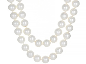 White Cultured Freshwater Pearl Rhodium Over Sterling Silver 18 Inch 2 Row Necklace