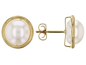 White Cultured Freshwater Button Pearl 14k Yellow Gold Stud Earrings 8-8.5mm