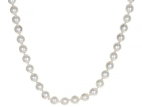 White Cultured Japanese Akoya Pearl 14k Yellow Gold 18 Inch Strand Necklace 6-6.5mm