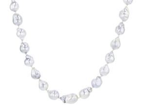 Platinum Cultured South Sea Pearl Rhodium Over Sterling Silver 20 Inch Strand Necklace 8-8.5mm