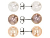 Multi-color Off-Round Cultured Freshwater Pearl 9mm Rhodium Over Sterling Silver Earrings Set of 3