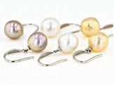Natural Multi-color Cultured Freshwater Pearl 9.5mm Rhodium Over Sterling Silver Earrings Set of 3