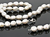 White Cultured Freshwater Pearl 8.5-9.5mm Rhodium Over Sterling Silver 22 Inch Strand Necklace