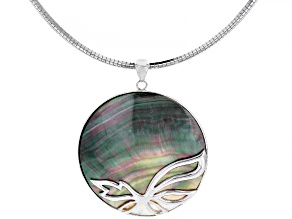 Tahitian Mother of Pearl Rhodium Over Sterling Silver Pendant With Omega Chain