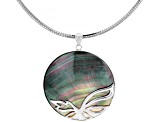 Tahitian Mother of Pearl Rhodium Over Sterling Silver Pendant With Chain