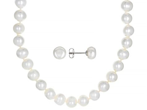 White Cultured Freshwater Pearl 8-9mm Rhodium Over Sterling Silver Necklace & Earrings Set