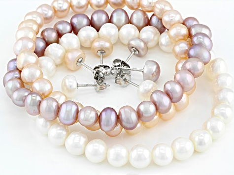 Multi-Color Cultured Freshwater Pearl Stretch  Bracelet & Stud Rhodium Over Silver Earrings Set of 3