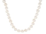 White Cultured Freshwater Pearl Rhodium Over Sterling Silver Strand Necklace 9-10mm