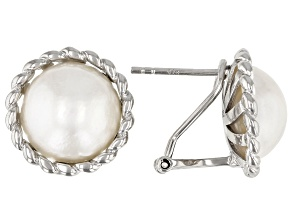 White Cultured South Sea Mabe Pearl 12mm Rhodium Over Sterling Silver Earrings