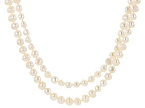 White Cultured Freshwater Pearl 64 Inch Endless Strand Set of 2