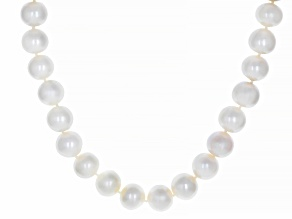 White Cultured Freshwater Oval Pearl Rhodium Over Sterling Silver Necklace 10-12mm