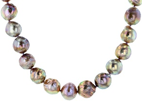 Natural Lavender Color Cultured Kasumiga Pearl Rhodium Over Sterling Silver 18 Inch Strand Necklace