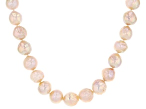 Natural Pink Color Cultured Kasumiga Pearl Rhodium Over Sterling Silver 18 Inch Strand Necklace